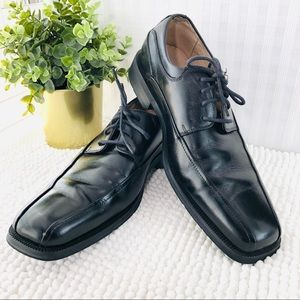 Florsheim derby's black leather square toe oxfords